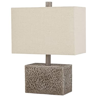 Stone & Beam Modern Slate Rock Table Desk Lamp with Light Bulb And Linen Shade,16 H, Polished Nickel