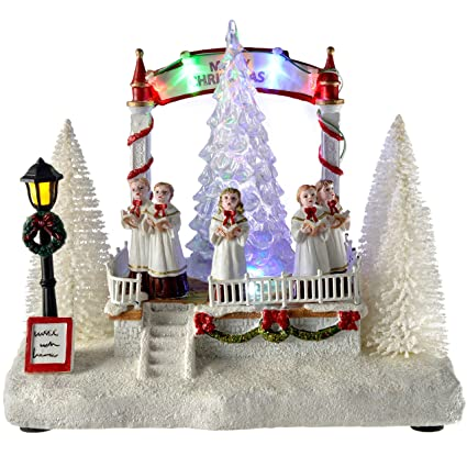 Pre Lit Rotating Christmas Tree.Werchristmas Pre Lit Led Choir Christmas Scene With Rotating Tree Decoration 20 Cm Multi Colour