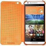 Heartly Dot View Touch Sensative Flip Thin Hard Shell Premium Bumper Back Case Cover For HTC Desire 620 620G 820 Mini Dual Sim - Mobile Orange