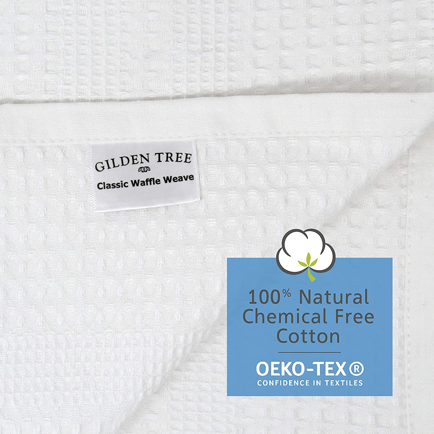 Gilden Tree Premium Bath Towel 100/% Natural Cotton Quick Dry Waffle Weave Lint Free Soft Luxurious Fabric Solid Colors Oversized Thin Cloth Fade Resistant White