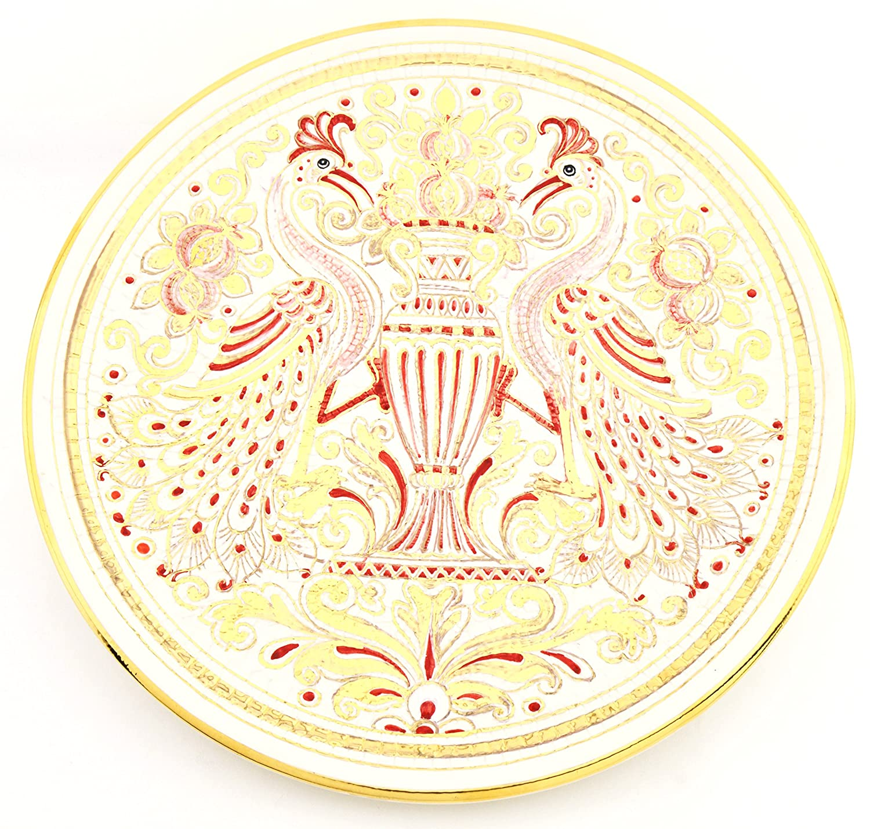 Art Escudellers Plato/Plato Pared Ceramica Pintado a Mano con Oro de 24K, Decorado al Estilo BIZANTINO Blanco. 39cm x 39cm x 4cm: Amazon.es: Hogar
