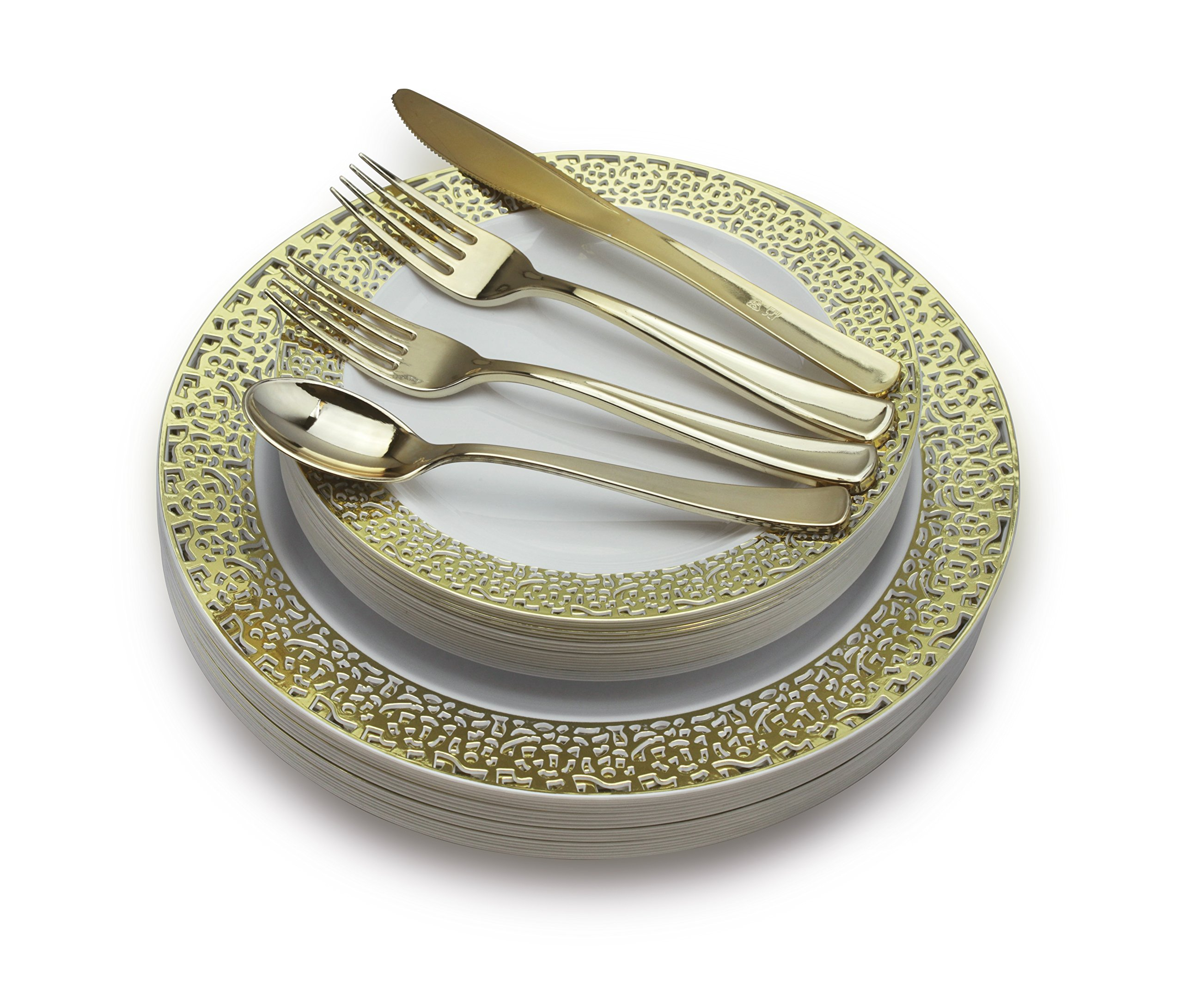 '' OCCASIONS '' 720 PCS / 120 GUEST Wedding Disposable Plastic Plate and Silverware Combo Set ( Florence White / Gold Plates , with Gold silverware)