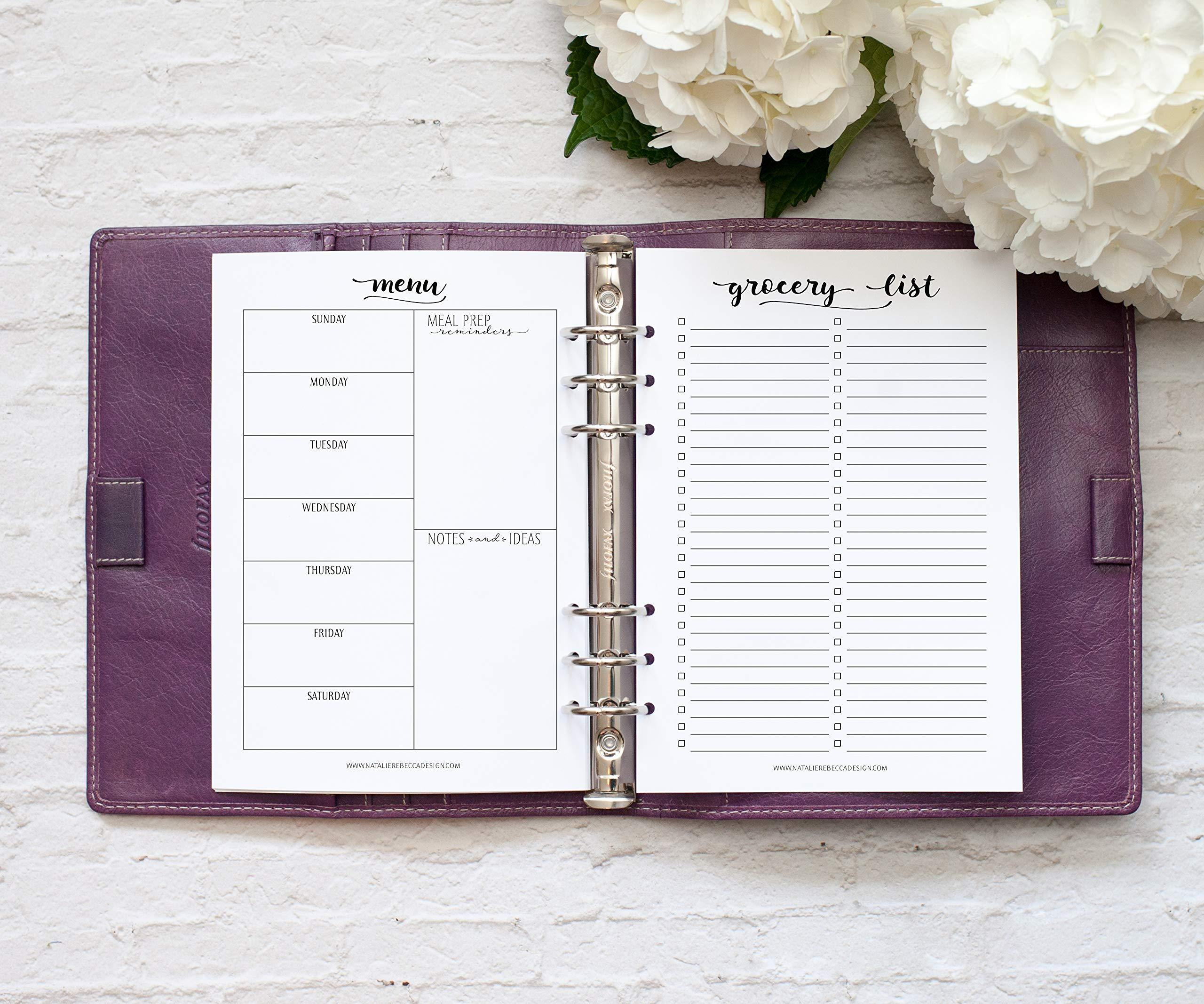 A5 Planner Menu and Grocery List Inserts, Paper Refills for Filofax, Kikki K, 6 Month Supply