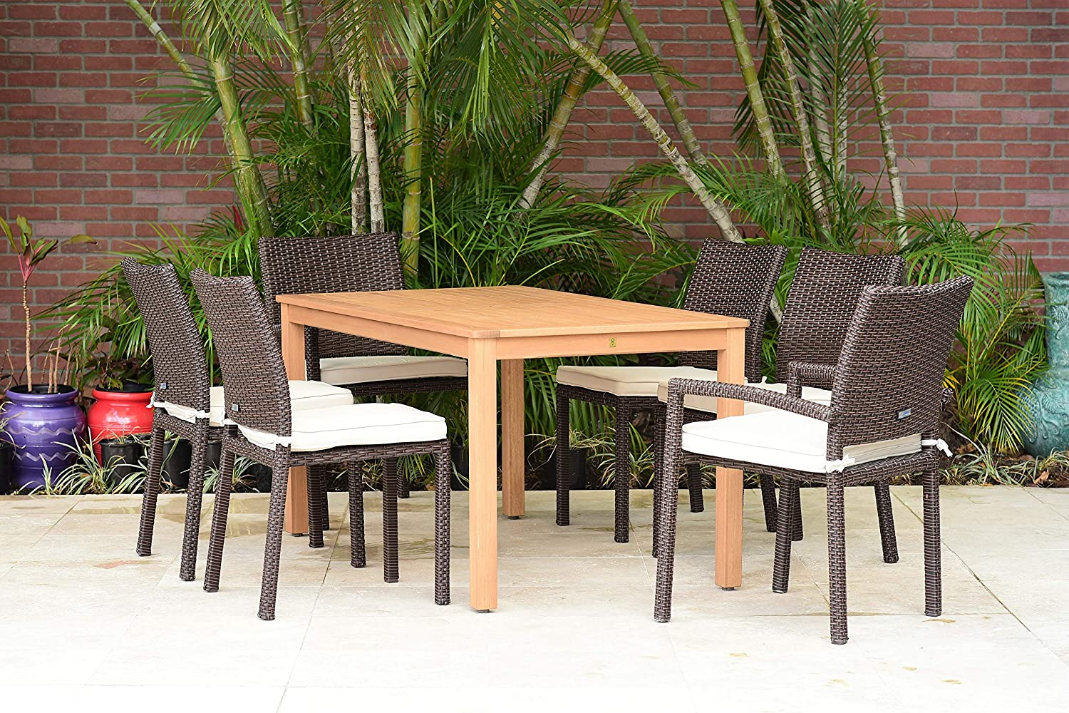 Amazonia Wilshire 7 Piece Rectangular Eucalyptus Patio Dining Set | Teak Finish and Brown Wicker Chairs with Cushions