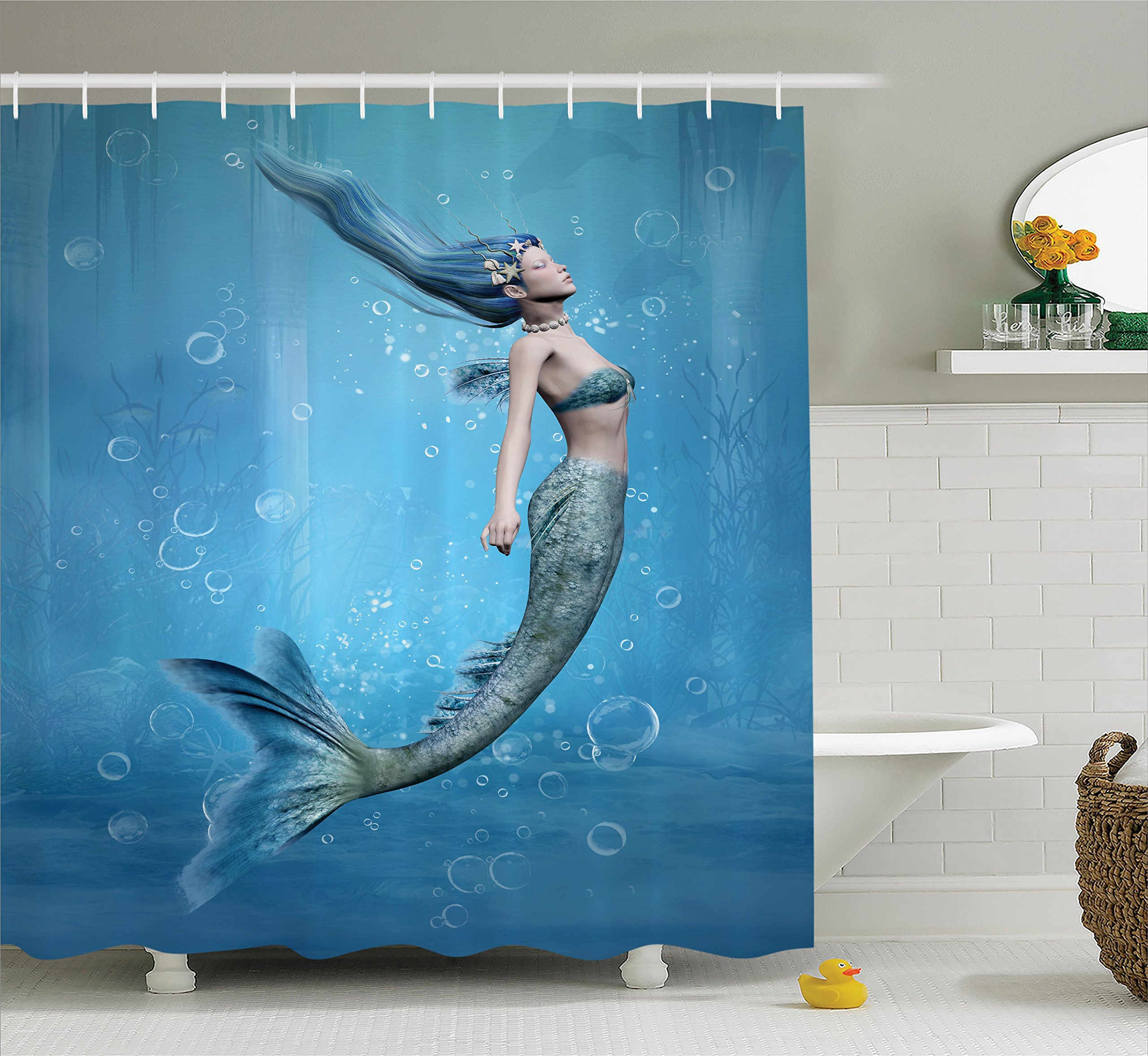 Ambesonne Mermaid Shower Curtain Blue Decor, Mermaid Fishtail Floating Bubbles Mythical Creature Fairy Ocean Life Art, Bathroom Accessories, with Hooks, 69W X 70L inches, Blue