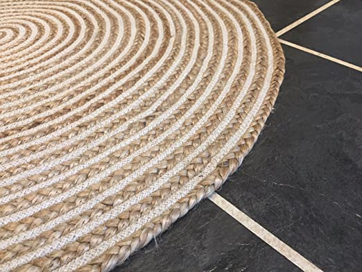 Alfombra grande de 120 cm de yute natural y algodón. Redonda y de color beige: Amazon.es: Juguetes y juegos