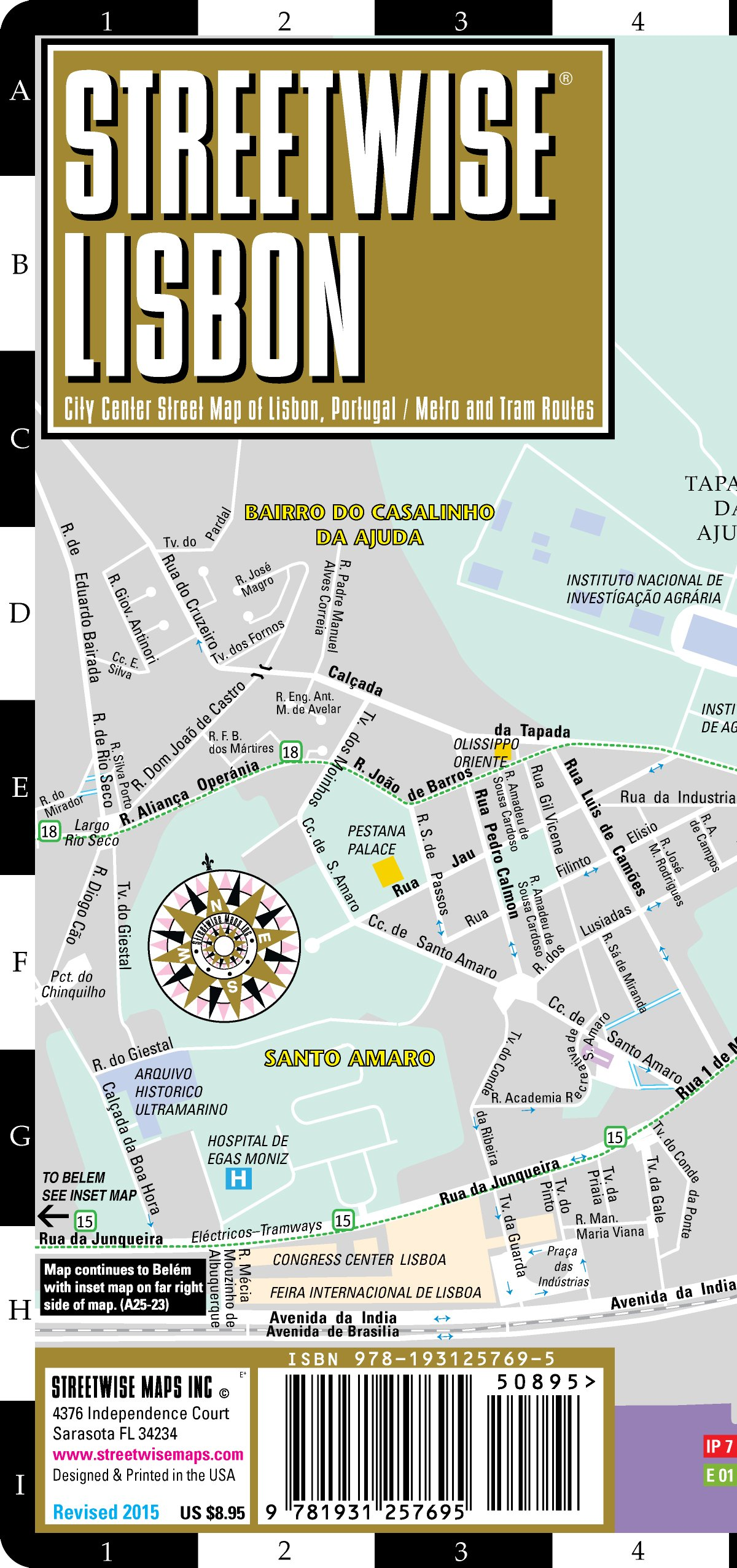Streetwise Lisbon Map Laminated City Center Street Map Of Lisbon - Portugal india map