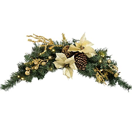 Werchristmas Pre Lit Decorated Arch Garland Christmas Decoration Illuminated With 20 Cold White Led Lights 90 Cm Gold Cream