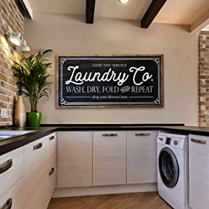 N/ A Laundry Co Same Day Service wash Dry fold and Repeat Drop Your Drawers here Painted Wood Sign Laundry Room