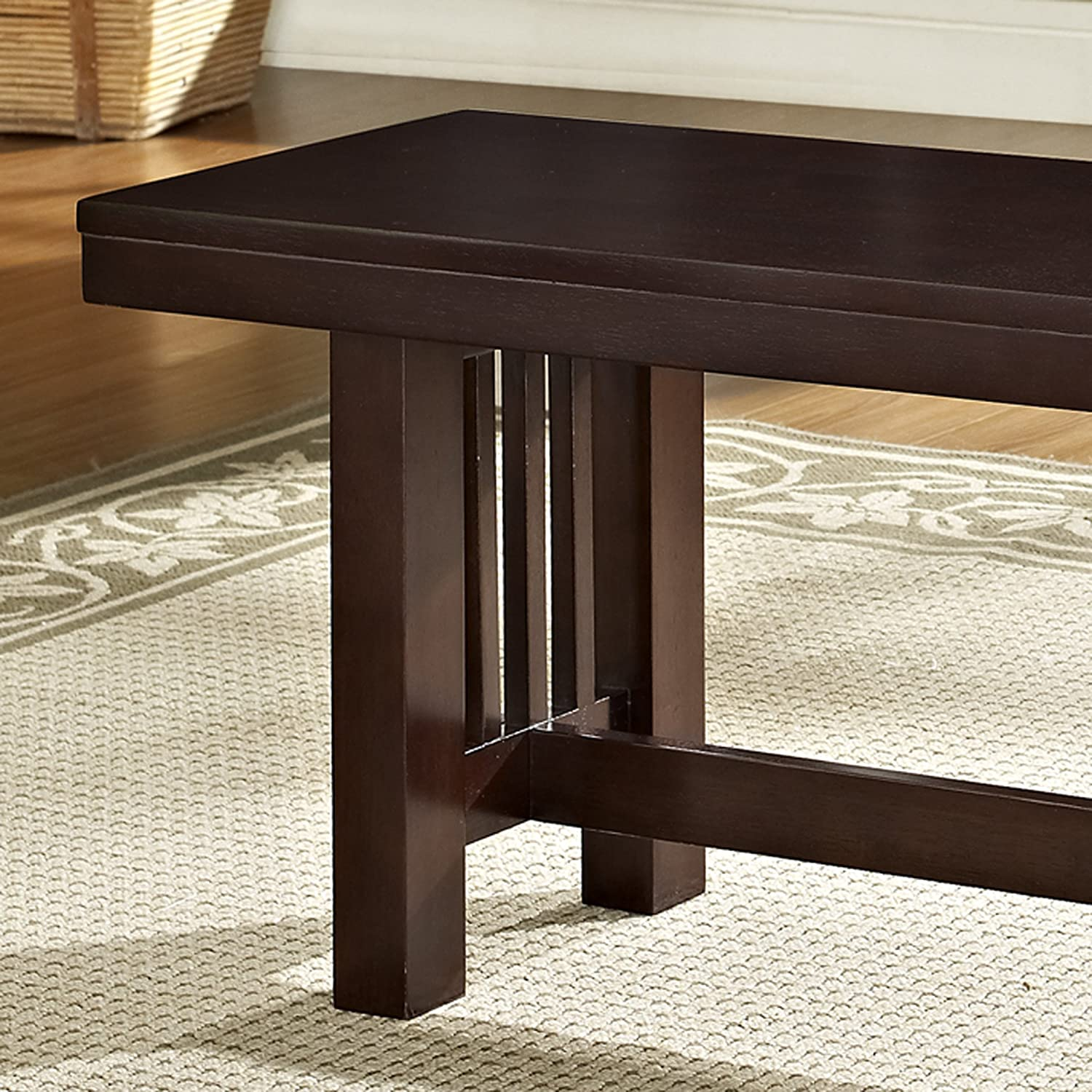 amazon com we furniture solid wood cappuccino dining bench