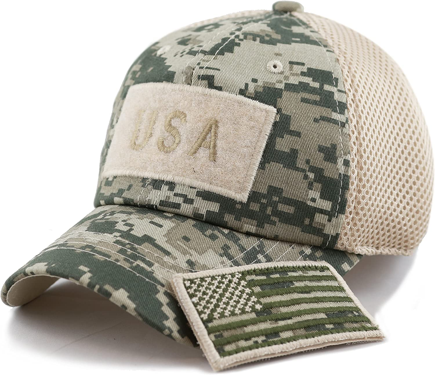 The Hat Depot Cotton & Pigment Low Profile Tactical Operator USA Flag Patch Military Army Cap