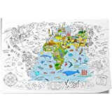 """Jar Melo Super Painter;Giant Coloring Poster; The World; Doodle Art for Children; 45.3"""" x 31.5""""; Coloring for Kids…"""