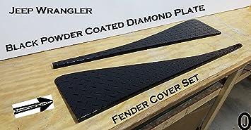 """97-06 JEEP TJ BLACK DIAMOND PLATE 4 1//2/"""" rocker covers CUT-OUTS 40/"""" FENDERS BEND"""