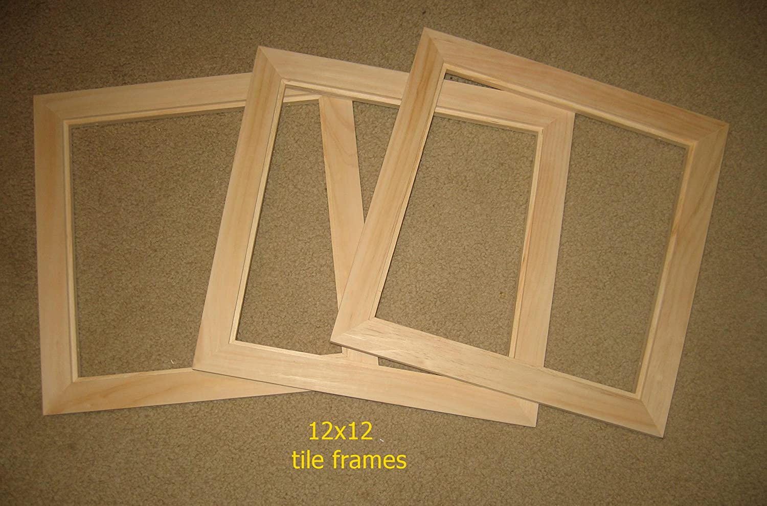 Amazon.com: Tile frames (3) - front mount - unfinished - 12x12 tiles ...