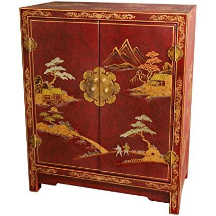 Oriental Furniture Red Lacquer Cabinet - Amazon.com: Oriental Furniture Red Lacquer Cabinet: Kitchen & Dining