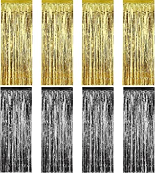 Sumind 8 Pack Foil Curtains Fringe Curtains Tinsel Background Metallic Curtains For Birthday Wedding Photo Booth Decorations Spielzeug