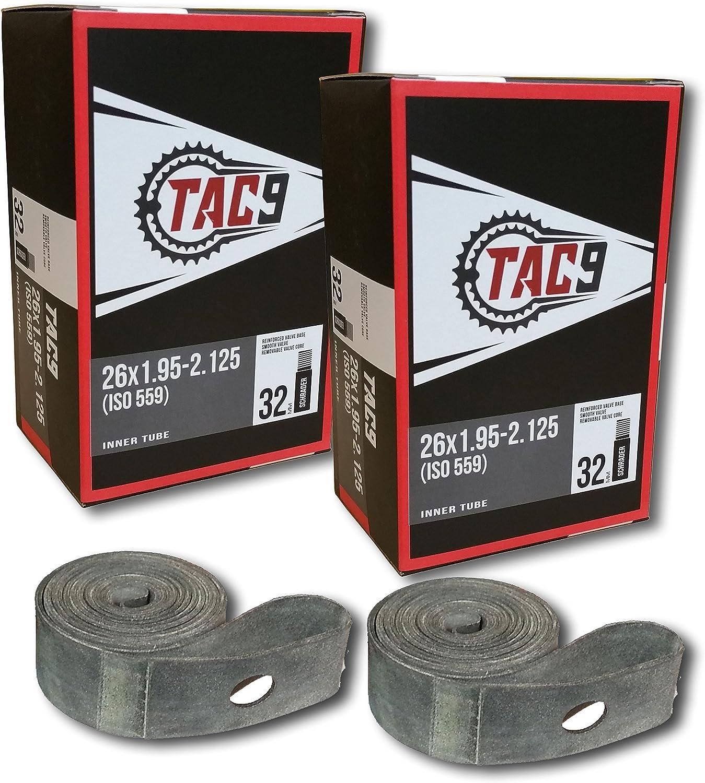 """TAC 9 26"""" Bike Tubes w/ 32mm Schrader Valve"""