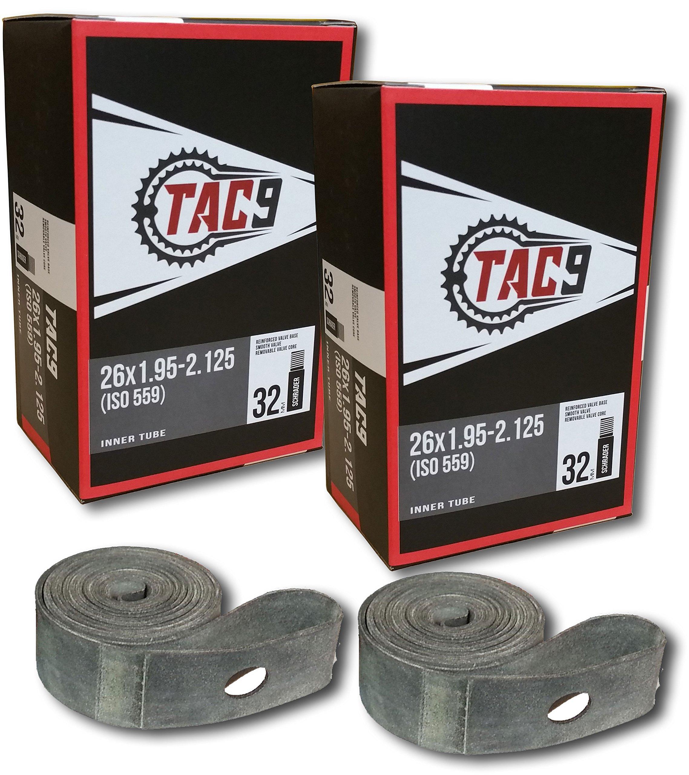 TAC 9 Bike Tubes, 26 x 1.95-2.125'' Regular Valve 32mm - Tubes & Rim Strips ONLY Bundle