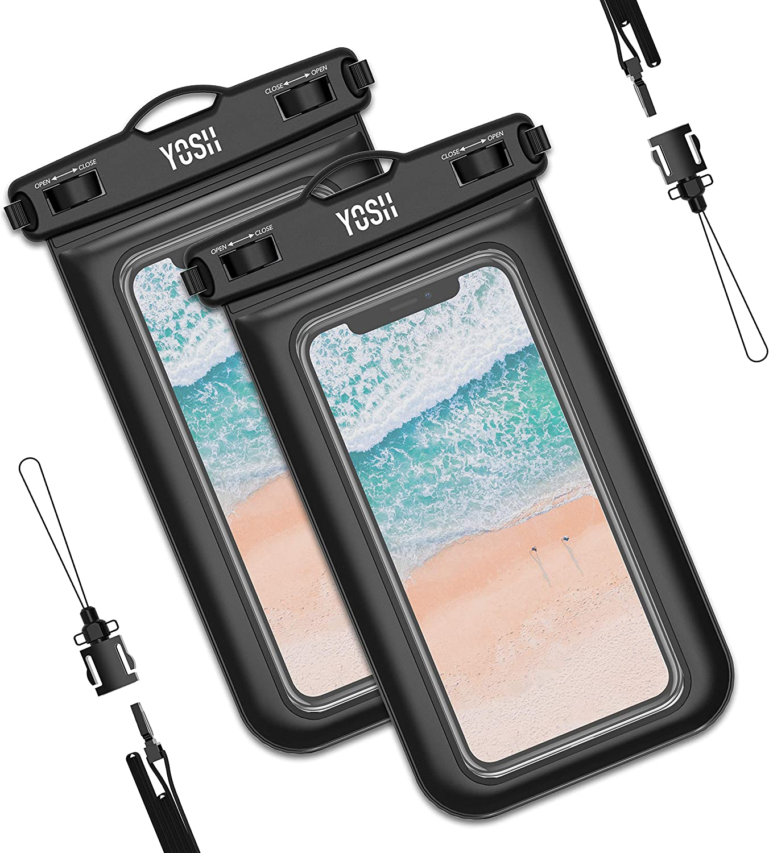 YOSH Funda Impermeable Móvil Universal 2 Unidades, IPX8 Certificado, Bolsa Sumergible para iPhone X 8 7 6s Samsung J5 J3 J7 S7 S8 S9 A5 Huawei P20 P10 P9 Lite y Otros Móviles hasta 6,8 Pulgadas