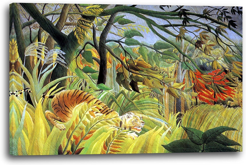 Canvas Print (100x70cm): Henri Rousseau - Tiger Surprised by The ...