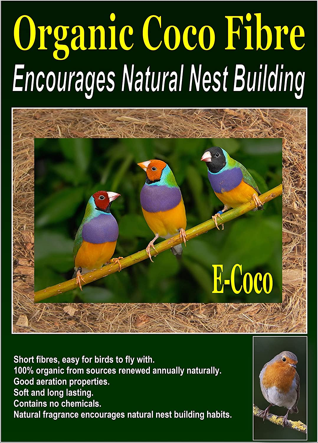 BIRD NESTING MATERIAL - BIRD NEST FIBRE - FOR USE IN BIRD AVIARY, BOX, HIDE, HOUSE & CAGE (1BAG) E-COCO PRODUCTS UK