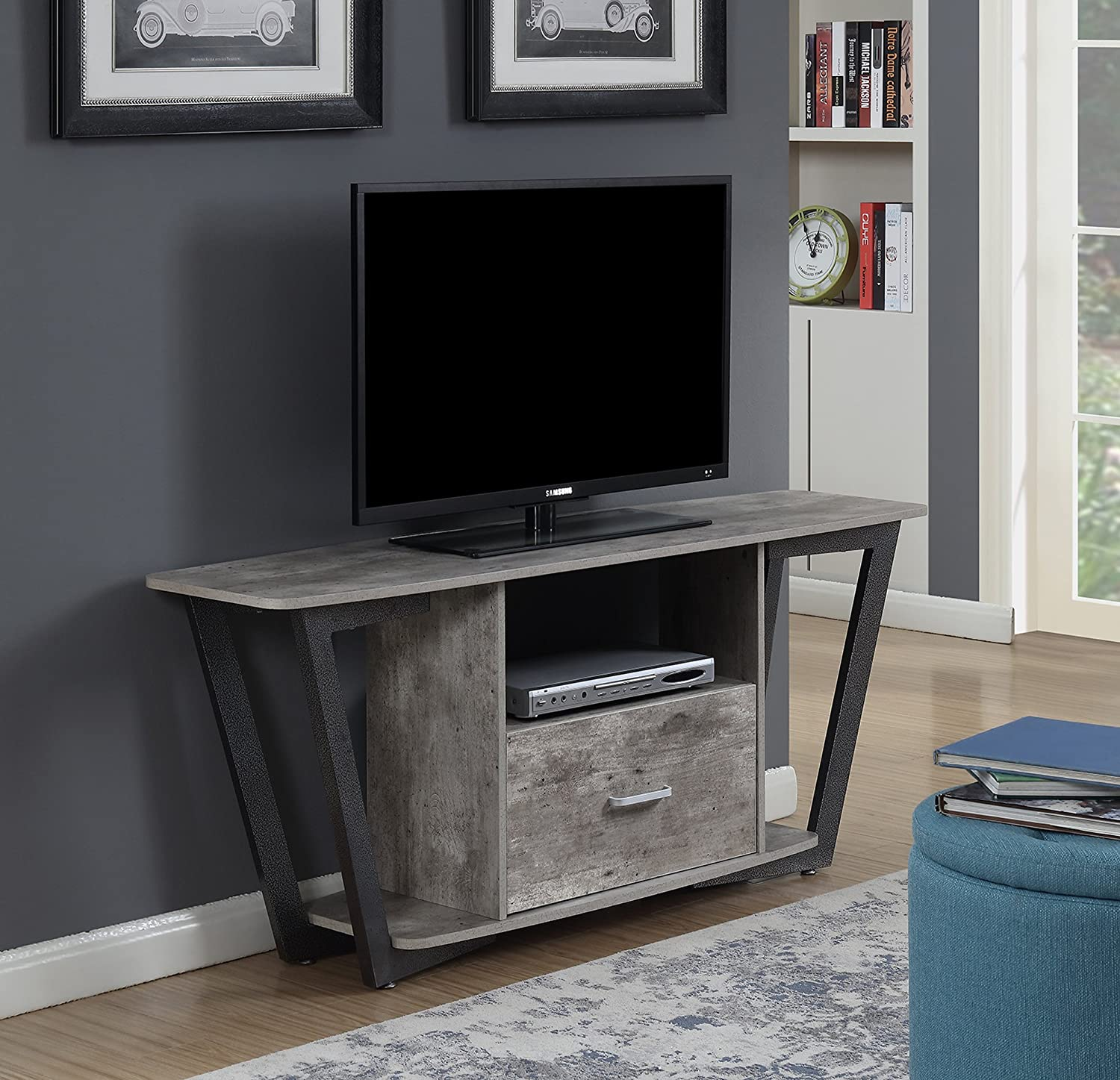 """Convenience Concepts 112085GYBF Graystone TV Stand Stone, 60"""", Gray/Black"""