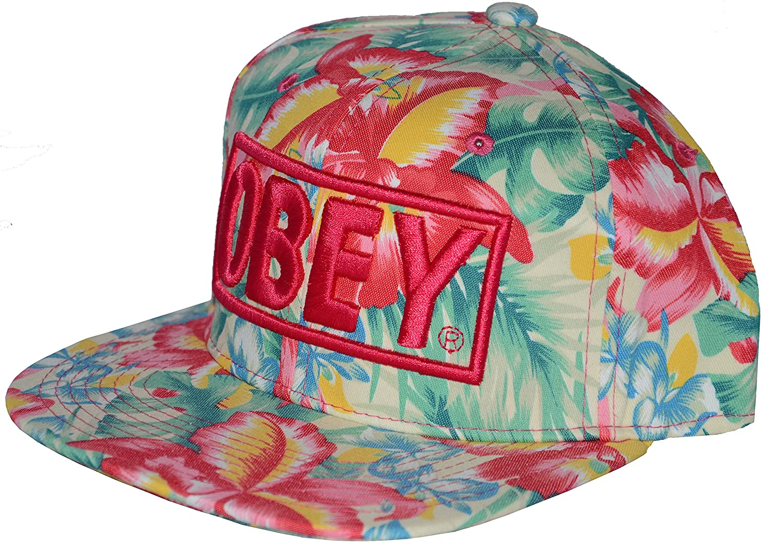 Official OBEY floral snapback hat. Adjustable size. Available in multiple  colours. (Pink)  Amazon.co.uk  Clothing 66b783866da9