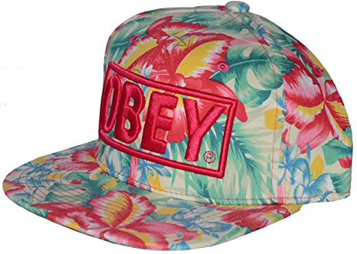28e3c93b944 Official OBEY floral snapback hat. Adjustable size. Available in multiple  colours. (Pink