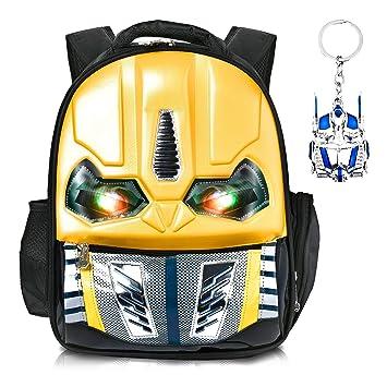 Skootz - Mochila de abejorro con diseño de Transformers 3D Impermeable   Ojos parpadeantes Cuando se presiona   Ideal para niños y niñas en la Escuela ...
