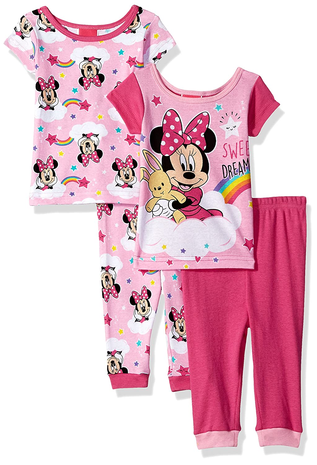 Disney Girls Minnie Mouse 4-Piece Cotton Pajama Set