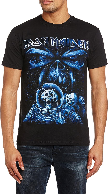 Iron Maiden Final Frontier Blue Album Spaceman Camiseta Manga Corta para Hombre: Amazon.es: Ropa y accesorios