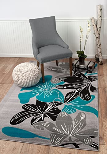 Summit 36 New Grey Torquoise Modern Abstract Many Sizes Available 3 .8 X 5 , 3 .8 X 5 AREA RUG