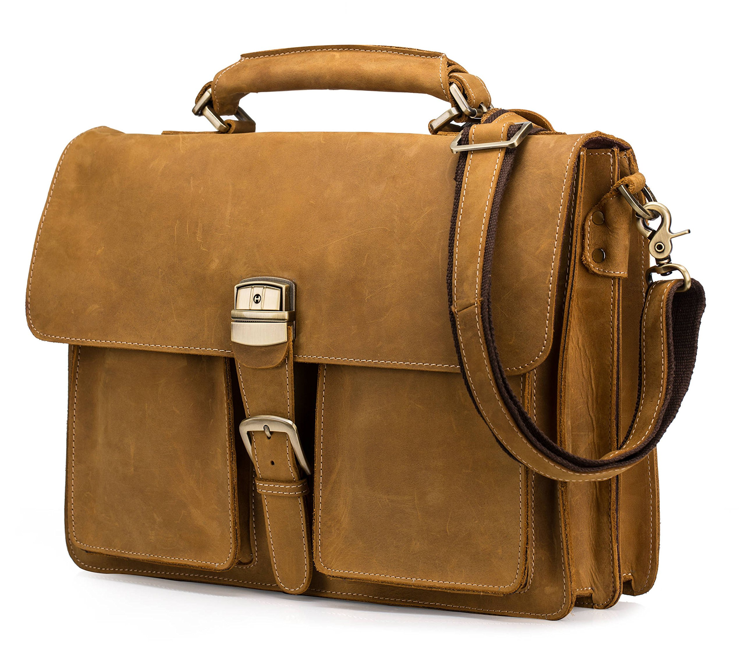 BAIGIO Leather Briefcase Designer Retro Messenger Bag Travel Handbag 15'' Laptop Shoulder Tote (Tan Brown)