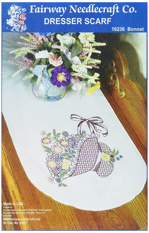 Perle Edge Fairway 16236 Dresser Scarf White Bonnet Flower Basket Design