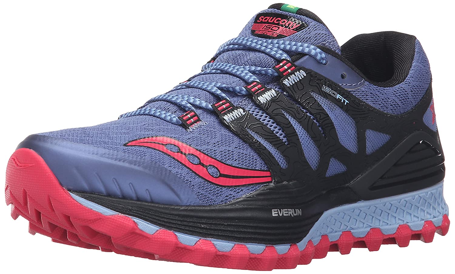Saucony Women's Xodus Iso Trail Runner B018FAIRR4 8 B(M) US|Denim/Black/Pink