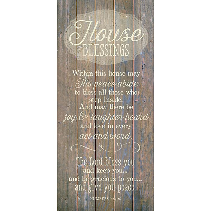 """House Blessing Wood Plaque Inspiring Quote 5.5""""x12"""" - Classy Vertical Frame Wall Hanging Decoration 