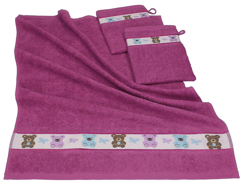 Betz Juego de 3 piezas de toallas para bebés 1 toalla y 2 manoplas de baño OSITOS de color rojo-morado: Amazon.es: Bebé