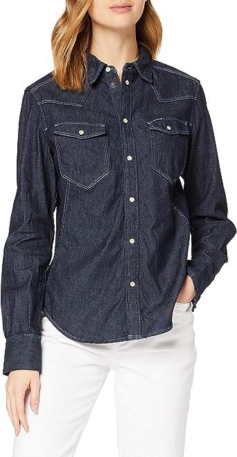 G-STAR RAW Western Kick Denim Slim Camisa para Mujer: Amazon ...