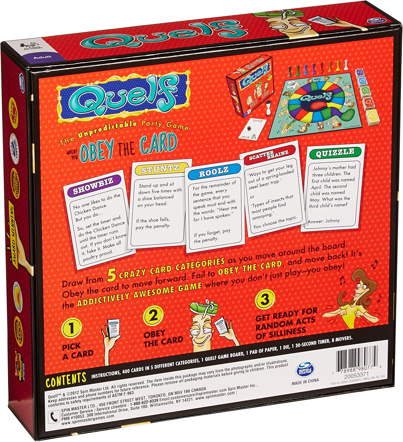 U-PICK 2012 Quelf Board Game REPLACEMENT PARTS Cards Die Movers timer board