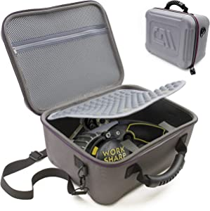 CASEMATIX Travel Case Compatible with Work Sharp Knife & Tool Sharpener Ken Onion Edition - Protective Carrier with Shoulder Strap for Ken Onion Work Sharp, Belts, Attachments and Other Accessories