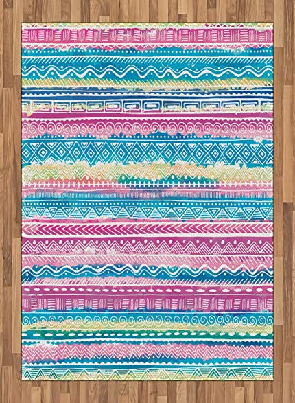 Amazon.com: Tribal Area Rug by Ambesonne, Watercolor Tie Dye Effect ...