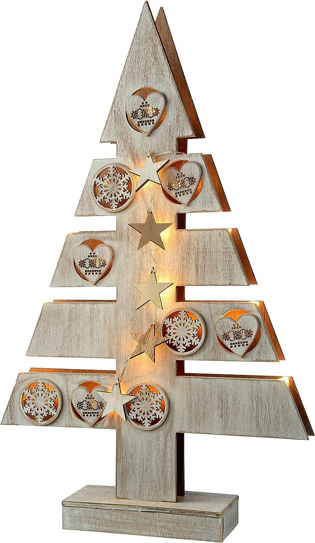 47/cm WeRChristmas Star und Herz Weihnachtsbaum Tischdekoration wei/ß Holz