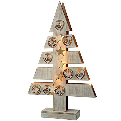 werchristmas pre lit star and heart christmas tree table decoration wood 47 cm