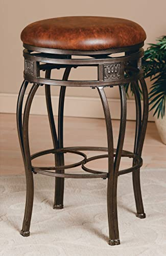 Hillsdale Montello Backless Swivel Counter Stool, Old Steel Finish with Brown Faux-Leather