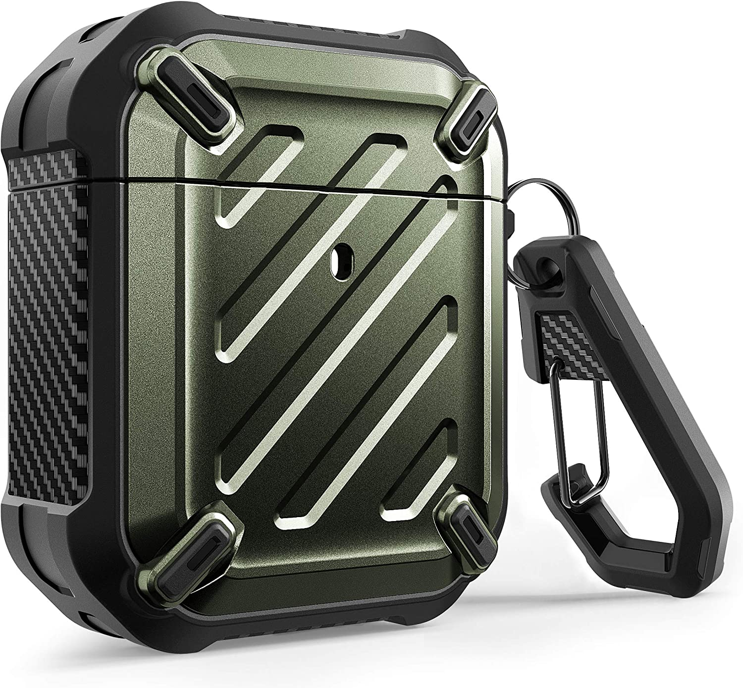SUPCASE Unicorn Beetle Pro Series Case Designed for Airpods 1 & 2, Full-Body Rugged Protective Case with Carabiner for Apple Airpods 1st & 2nd (DarkGreen)