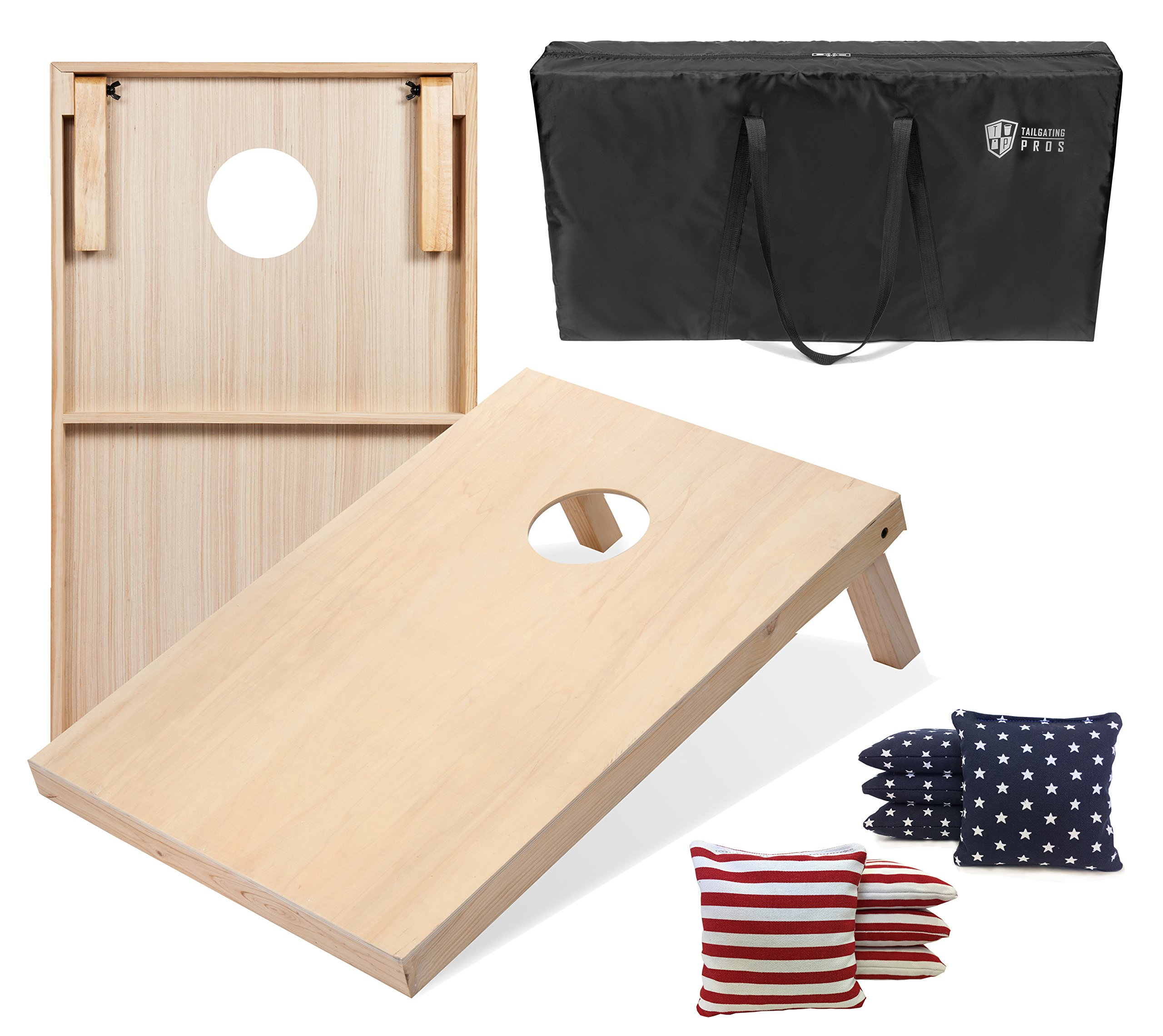Tailgating Pros 4'x2' Cornhole Boards w/Carrying Case & Set of 8 Cornhole Bags (You Pick Color) 25 Bag Colors! (Stars/Stripes, 3'x2' Boards) by Tailgating Pros