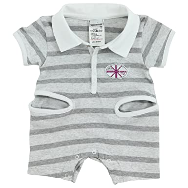 caef54843234 3 Pommes Baby Boy s Jersey Striped Short Romper Light Mocked Grey 3 Months