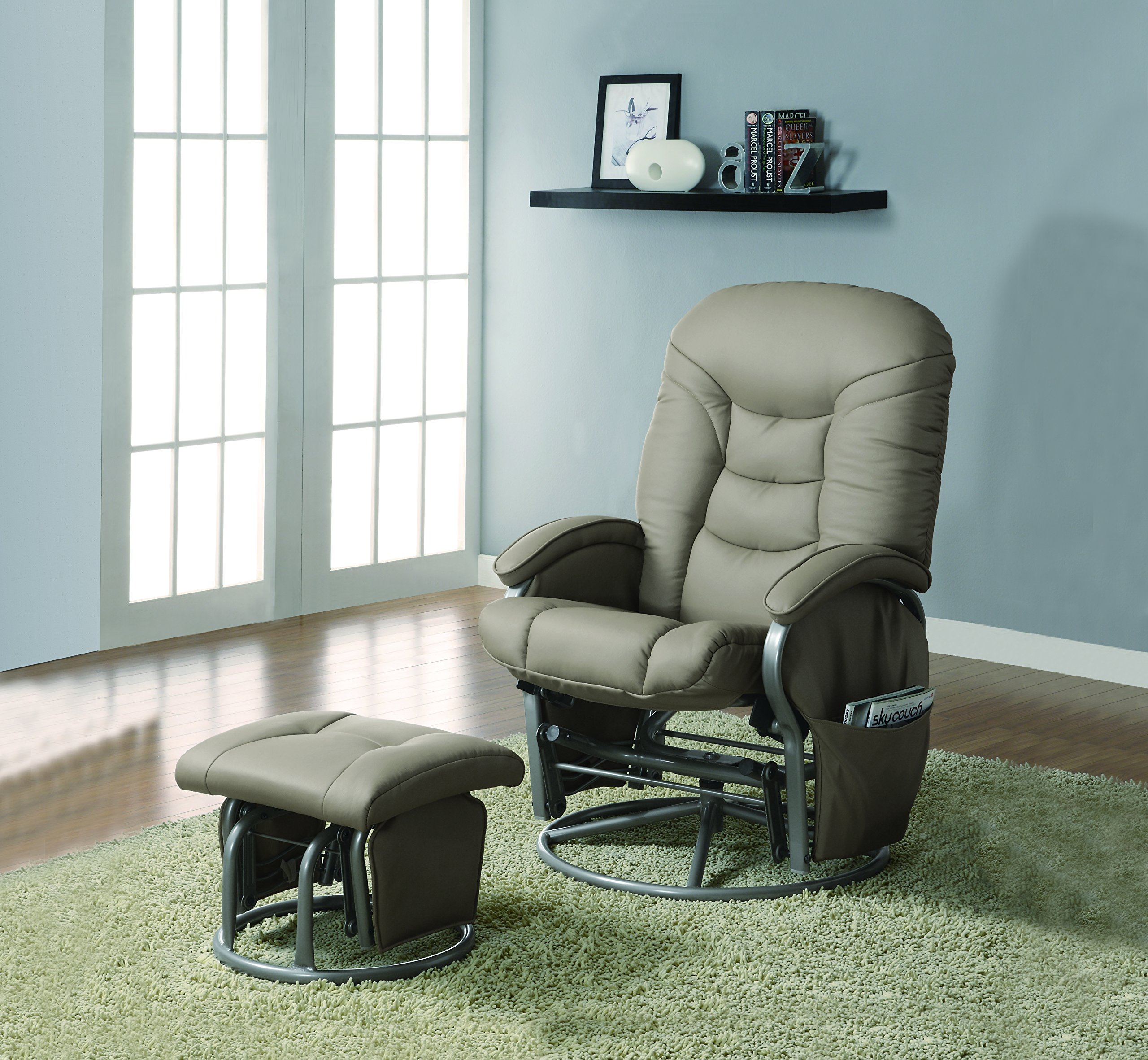Coaster Deluxe Swivel Glider and Ottoman in Beige Leatherette by Coaster Home Furnishings