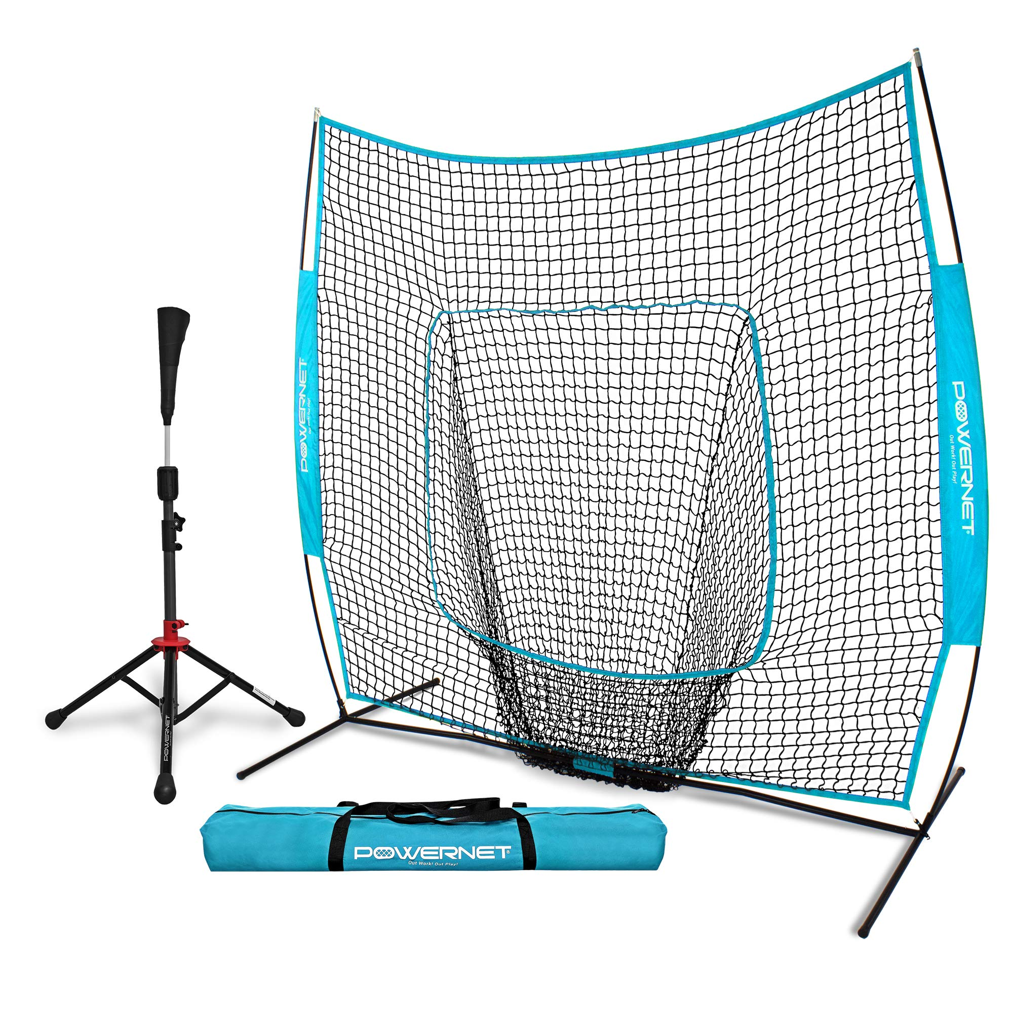 PowerNet Baseball Softball Practice Net 7x7 with Deluxe Tee (Sky Blue) | Practice Hitting, Pitching, Batting, Fielding | Portable, Backstop, Training Aid, Bow Frame | Training Equipment by PowerNet