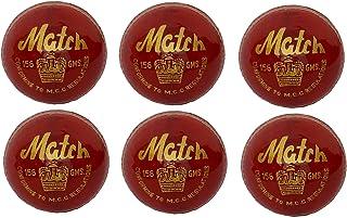 CW Lot de 6 Match Rouge en cuir tanné alun 4pièce Cut Balle de cricket Entièrement cousu à la main 155,9gram 25comme Idéal pour les matchs de club et Pratiquer la Régulation de la MCC Approuv&eacu